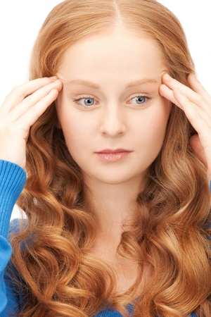 bright picture of unhappy woman over white Stock Photo - 8987048