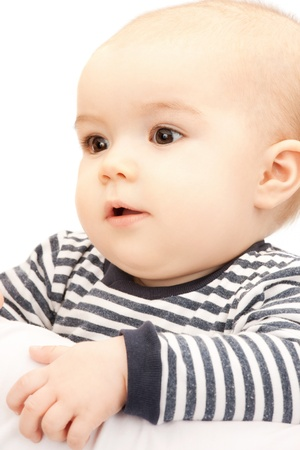 bright picture of adorable baby over white
