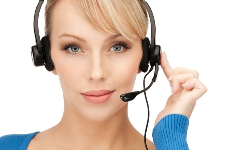chat online: bright picture of friendly female helpline operator