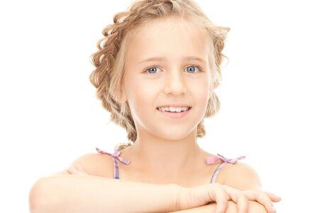 bright closeup portrait picture of little girl  photo