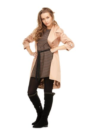 bright picture of lovely woman in coat  photo
