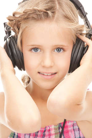 picture of happy girl in big headphones  photo