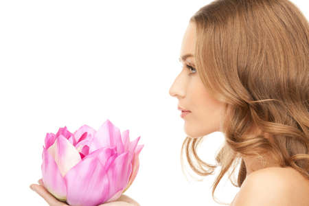 picture of beautiful woman with Lotus flower Stock Photo - 8984055