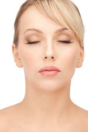 bright closeup portrait picture of beautiful woman photo