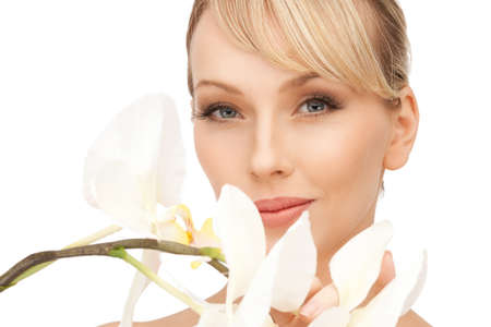picture of beautiful woman with orchid flower Stock Photo - 8984084