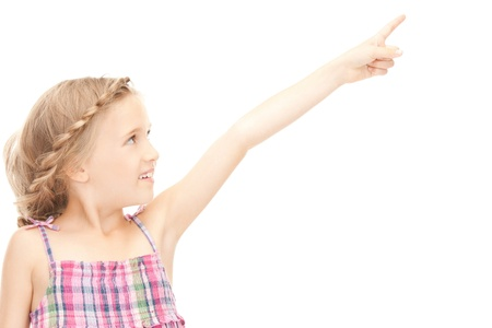 kid pointing: picture of little girl pointing her finger