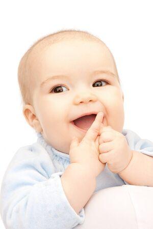 BUEN VIVIR: imagen brillante de beb� adorable sobre blanco  Foto de archivo