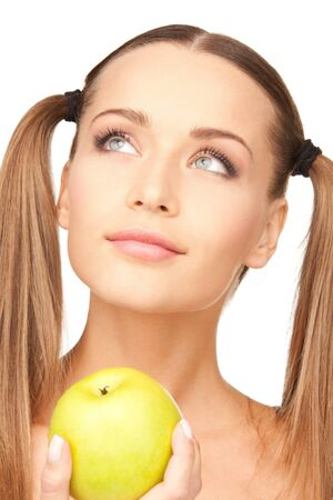 picture of young beautiful woman with green Apple Stock Photo - 8986097