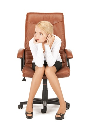 picture of young businesswoman sitting in chair  Stock Photo - 9045999