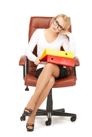 picture of young businesswoman with folders sitting in chair Stock Photo - 9045994