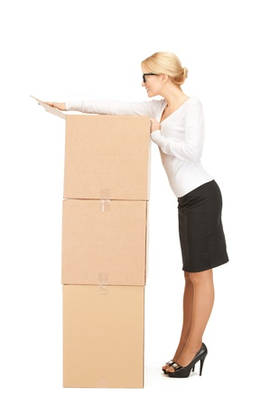 picture of attractive businesswoman with big boxes Stock Photo - 9059150