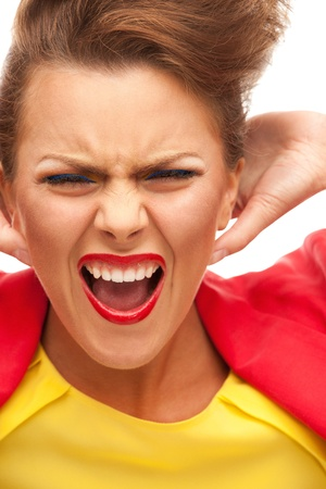 bright picture of screaming woman over white Stock Photo - 9059239