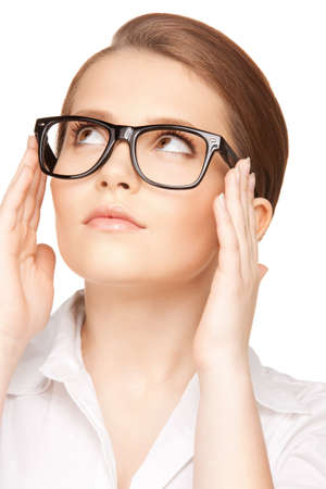 eyewear: closeup picture of lovely woman in spectacles  Stock Photo