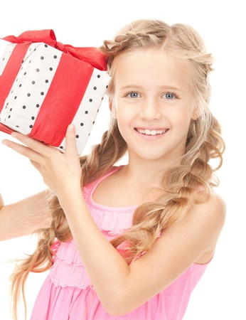 picture of happy little girl with gift box  photo