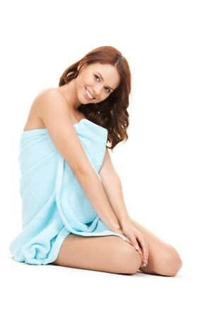 bare women: bright picture of beautiful woman in towel  Stock Photo