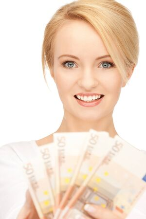picture of lovely woman with euro cash money Stock Photo - 9162338