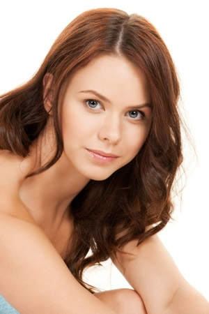 closeup portrait picture of beautiful woman in towel  photo