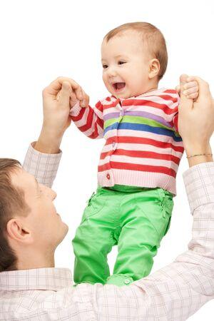 vater und baby: Bild der gl�ckliche Vater mit Fr�hlichkeit baby Lizenzfreie Bilder