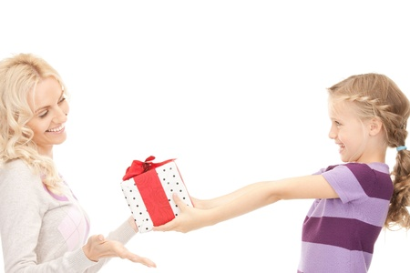 picture of mother and little girl with gifts  photo