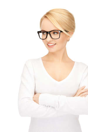 nerd girl: bright picture of calm and friendly woman