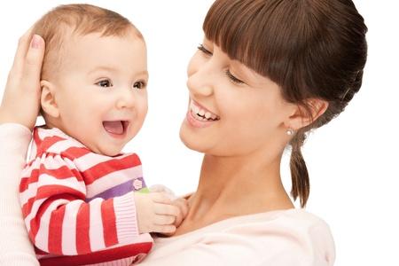 madre e hijo: foto de madre feliz con adorable beb� Foto de archivo
