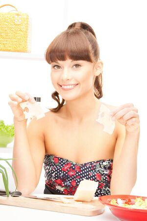 picture of beautiful woman in the kitchen photo