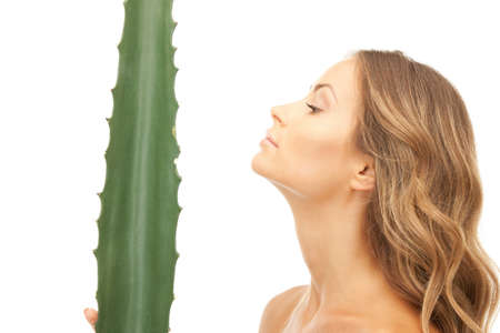 picture of lovely woman with aloe vera Stock Photo - 9318943