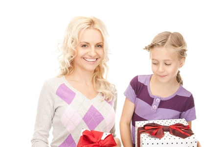 picture of mother and little girl with gifts. Stock Photo - 9318932