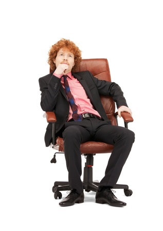 picture of young businessman sitting in chair Stock Photo - 9318823