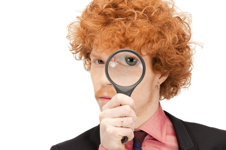 picture of handsome man with magnifying glass Stock Photo - 9318957