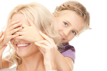bright picture of happy mother and little girl. photo