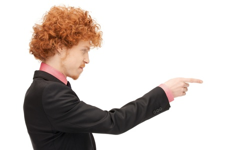 picture of attractive businessman pointing his finger photo