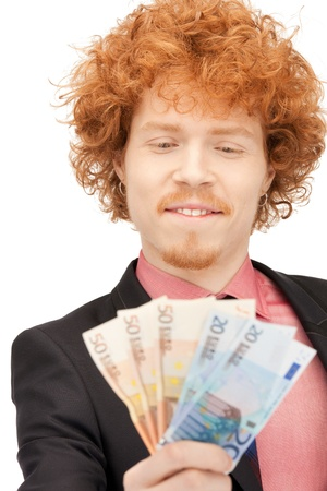 picture of handsome man with euro cash money Stock Photo - 9319597
