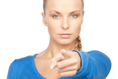 picture of attractive businesswoman pointing her finger. photo