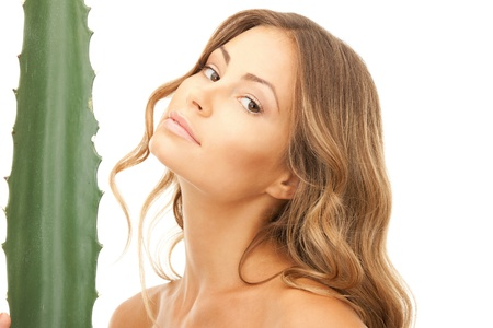 picture of lovely woman with aloe vera Stock Photo - 9332452