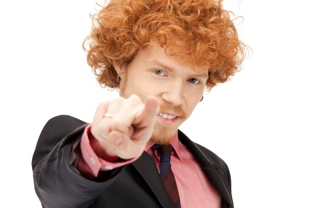 picture of attractive businessman pointing his finger Stock Photo - 9373229