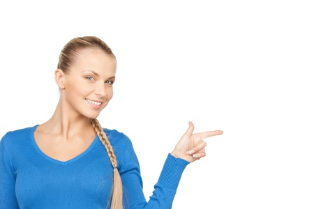picking fingers: picture of attractive businesswoman pointing her finger.