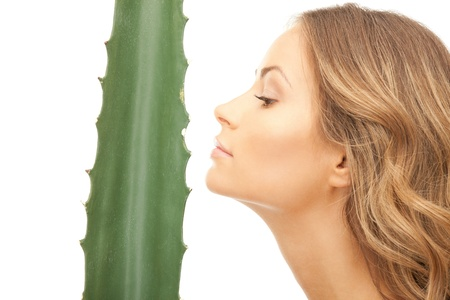 picture of lovely woman with aloe vera Stock Photo - 9354567