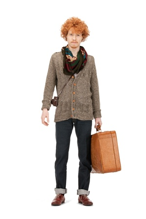 bright picture of handsome man with suitcase Stock Photo - 9361426