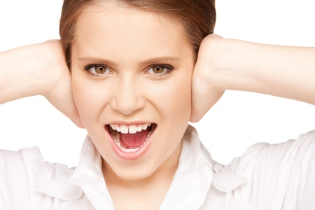 picture of woman with hands on ears. Stock Photo - 9361420