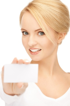 businesswoman card: bright picture of confident woman with business card Stock Photo