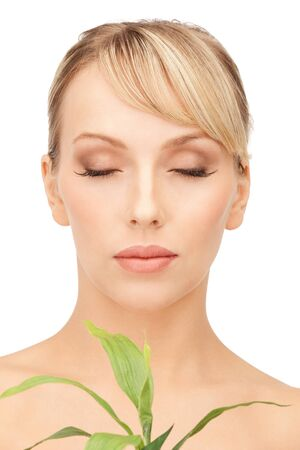 closeup picture of woman with green sprout Stock Photo - 9362131