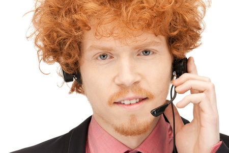 bright picture of friendly male helpline operator photo