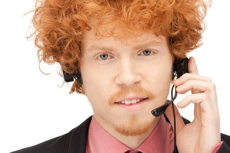 bright picture of friendly male helpline operator photo