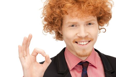 bright picture of handsome man showing ok sign Stock Photo - 9362110