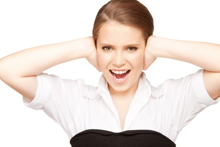 picture of woman with hands on ears. Stock Photo - 9363884