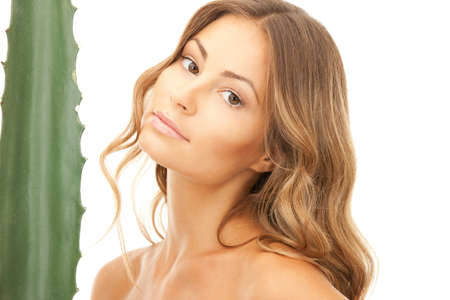 picture of lovely woman with aloe vera Stock Photo - 9373142