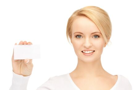 holding business card: bright picture of confident woman with business card Stock Photo