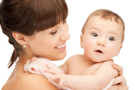 picture of happy mother with adorable baby (focus on woman) photo