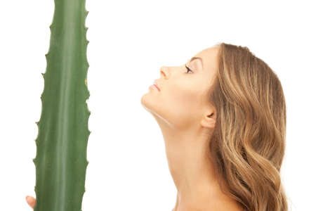 picture of lovely woman with aloe vera Stock Photo - 9393592